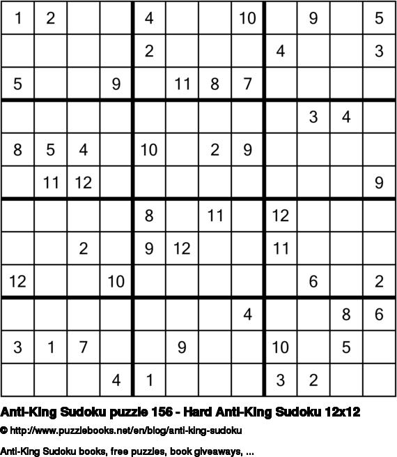 Anti-King Sudoku puzzle 156 - Hard Anti-King Sudoku 12x12