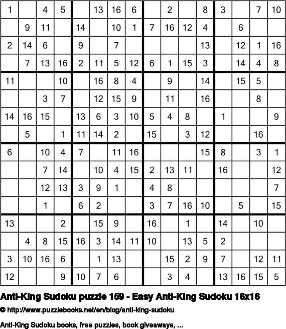 Anti-King Sudoku puzzle 159 - Easy Anti-King Sudoku 16x16