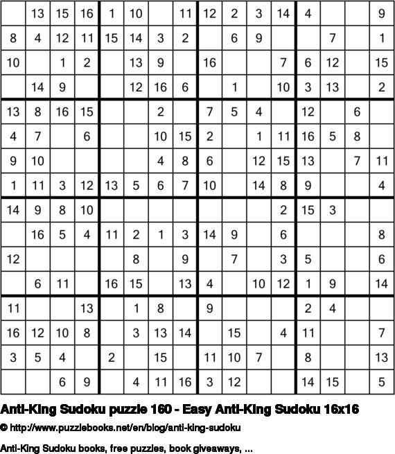 Anti-King Sudoku puzzle 160 - Easy Anti-King Sudoku 16x16