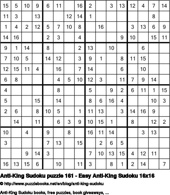 Anti-King Sudoku puzzle 161 - Easy Anti-King Sudoku 16x16