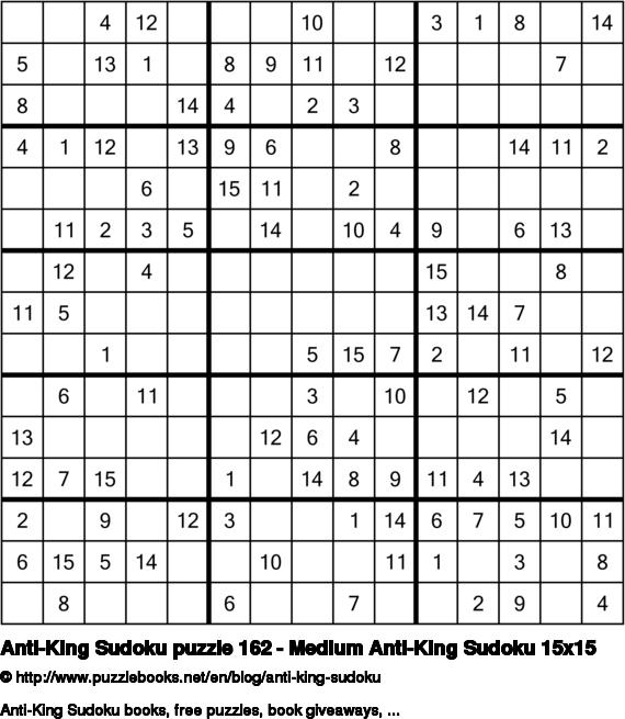 Anti-King Sudoku puzzle 162 - Medium Anti-King Sudoku 15x15
