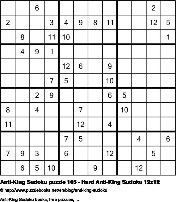 Anti-King Sudoku puzzle 165 - Hard Anti-King Sudoku 12x12