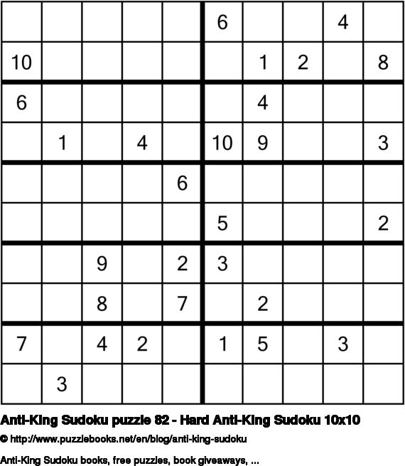 Anti-King Sudoku puzzle 82 - Hard Anti-King Sudoku 10x10