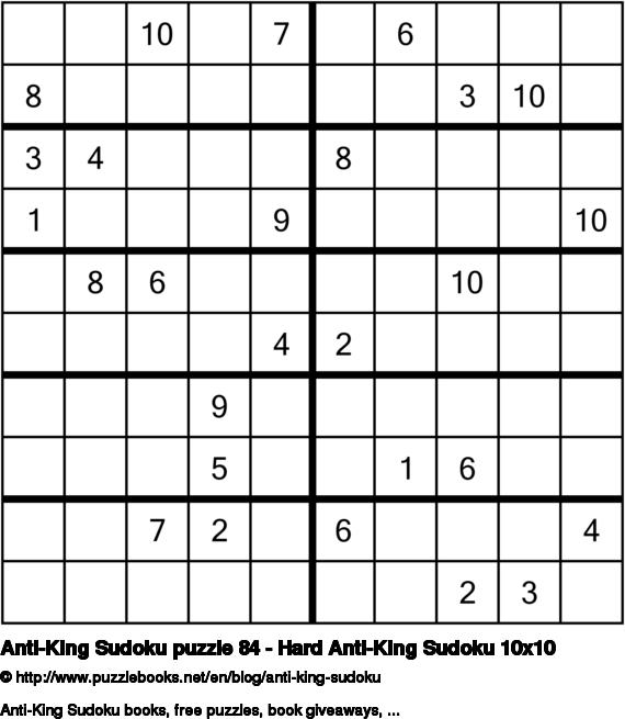Anti-King Sudoku puzzle 84 - Hard Anti-King Sudoku 10x10