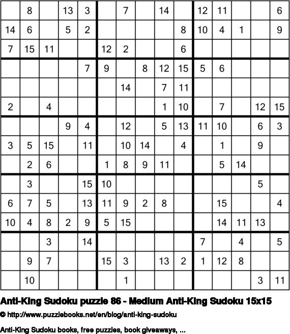 Anti-King Sudoku puzzle 86 - Medium Anti-King Sudoku 15x15