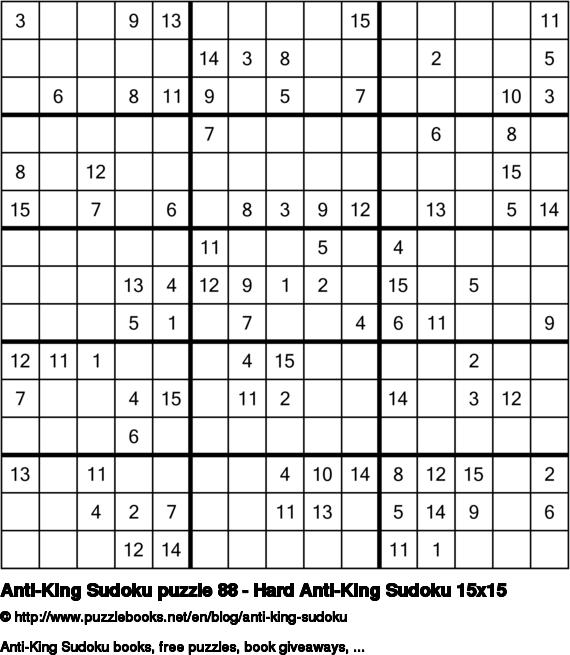 Anti-King Sudoku puzzle 88 - Hard Anti-King Sudoku 15x15