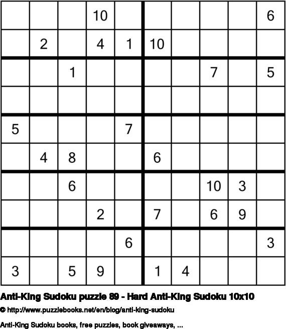 Anti-King Sudoku puzzle 89 - Hard Anti-King Sudoku 10x10