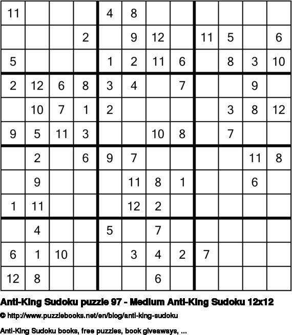 Anti-King Sudoku puzzle 97 - Medium Anti-King Sudoku 12x12