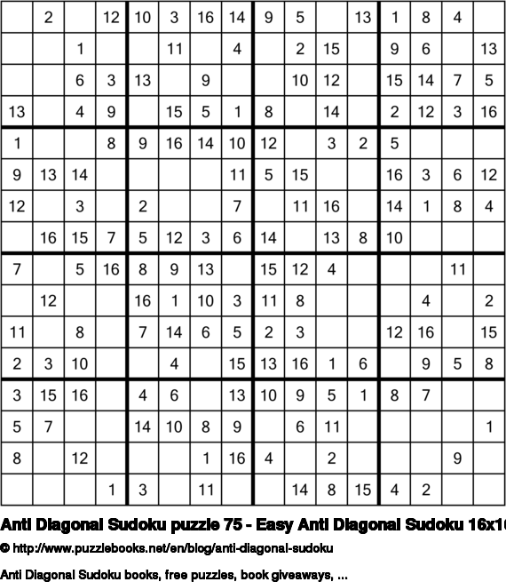 Anti Diagonal Sudoku puzzle 75 - Easy Anti Diagonal Sudoku 16x16