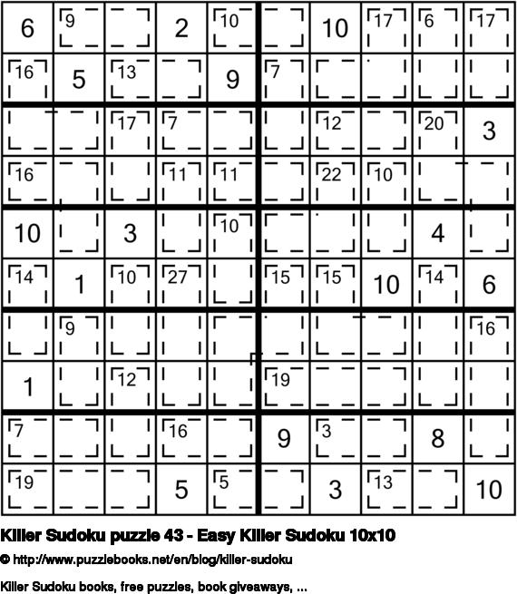 Killer Sudoku puzzle 43 - Easy Killer Sudoku 10x10