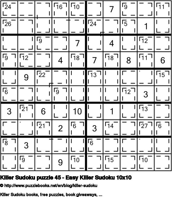 Killer Sudoku puzzle 45 - Easy Killer Sudoku 10x10