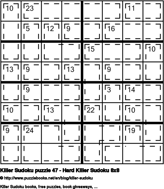 Killer Sudoku puzzle 47 - Hard Killer Sudoku 8x8