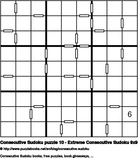Consecutive Sudoku puzzle 10 - Extreme Consecutive Sudoku 9x9