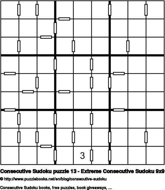 Consecutive Sudoku puzzle 13 - Extreme Consecutive Sudoku 9x9
