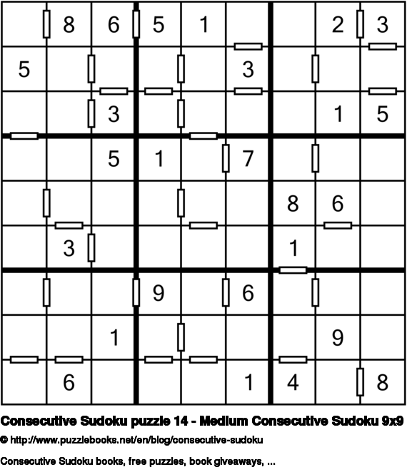 Consecutive Sudoku puzzle 14 - Medium Consecutive Sudoku 9x9