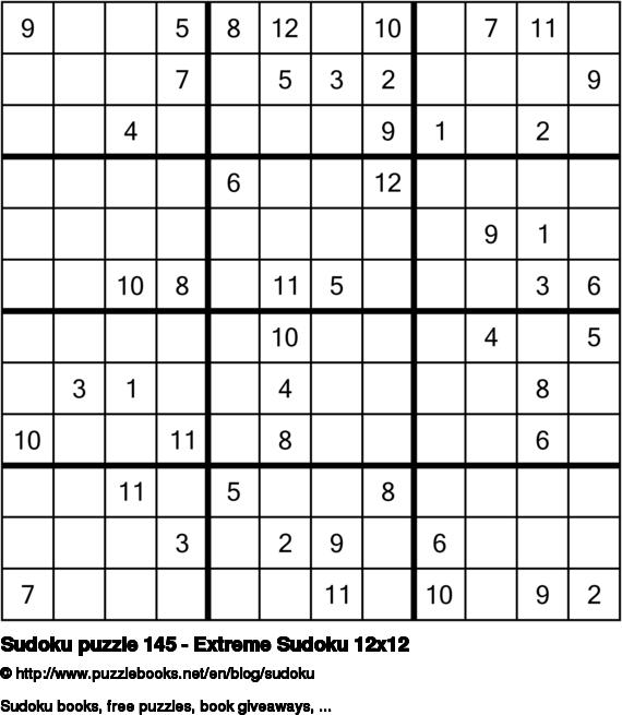 Sudoku puzzle 145 - Extreme Sudoku 12x12