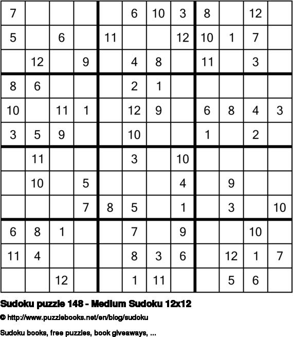 Sudoku puzzle 148 - Medium Sudoku 12x12