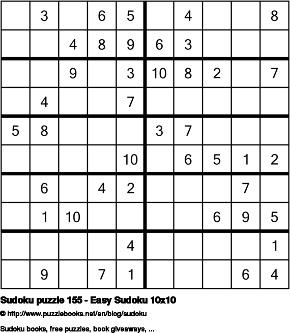 Sudoku puzzle 155 - Easy Sudoku 10x10