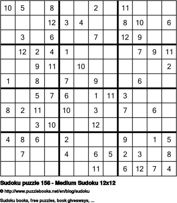 Sudoku puzzle 156 - Medium Sudoku 12x12