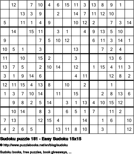 Sudoku puzzle 181 - Easy Sudoku 15x15