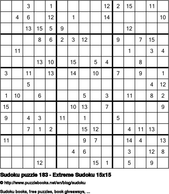 Sudoku puzzle 183 - Extreme Sudoku 15x15