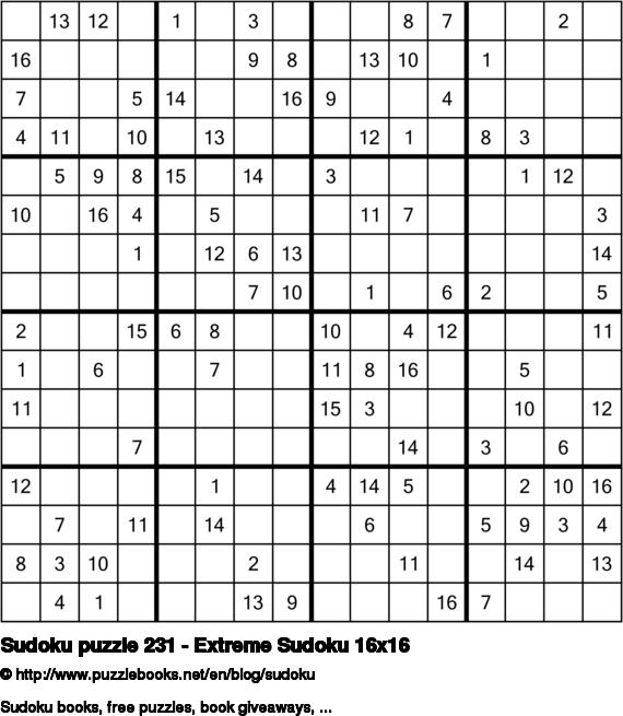 Sudoku puzzle 231 - Extreme Sudoku 16x16