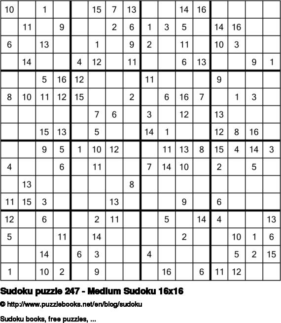 Sudoku puzzle 247 - Medium Sudoku 16x16