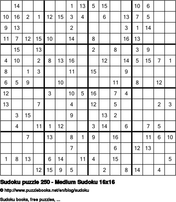 Sudoku puzzle 250 - Medium Sudoku 16x16
