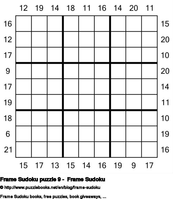 Frame Sudoku puzzle 9 -  Frame Sudoku