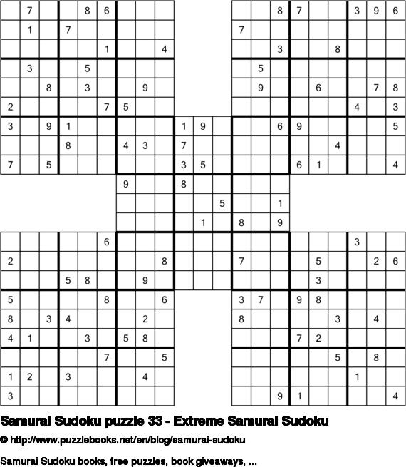 Samurai Sudoku puzzle 33 - Extreme Samurai Sudoku