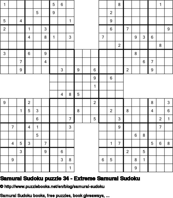 Samurai Sudoku puzzle 34 - Extreme Samurai Sudoku