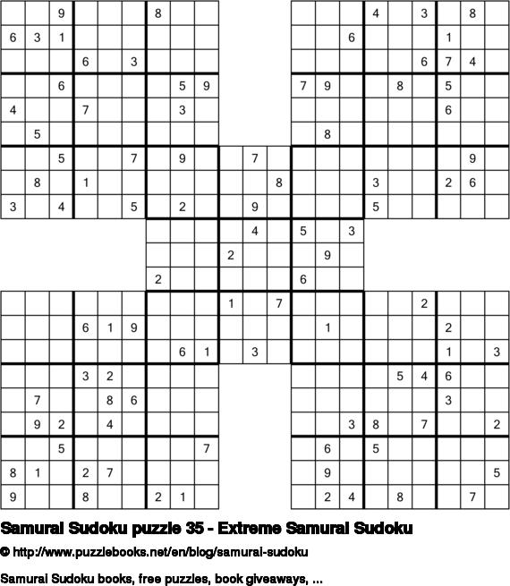 Samurai Sudoku puzzle 35 - Extreme Samurai Sudoku