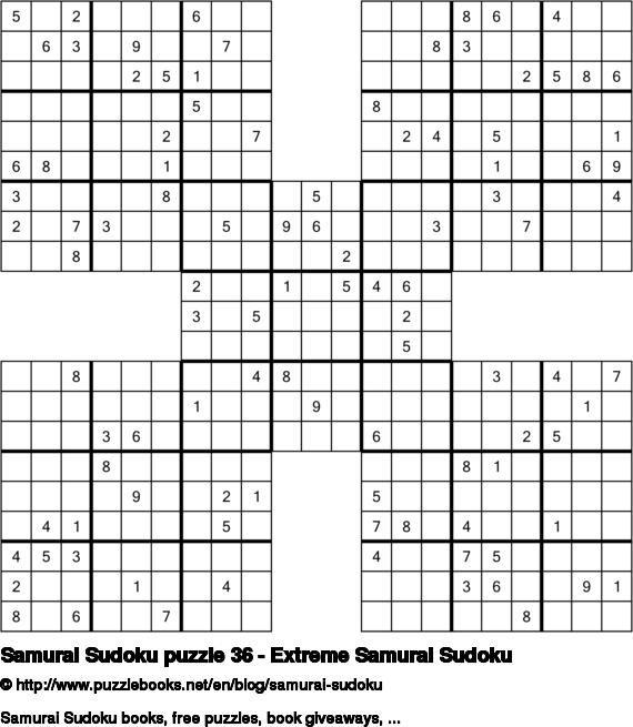 Samurai Sudoku puzzle 36 - Extreme Samurai Sudoku