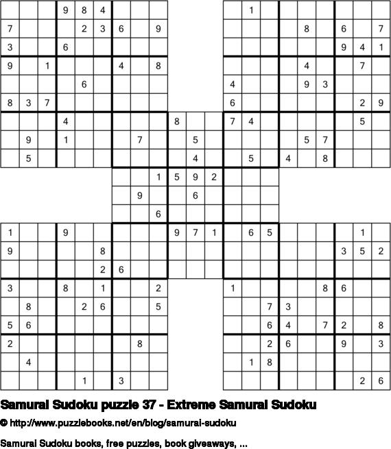 Samurai Sudoku puzzle 37 - Extreme Samurai Sudoku