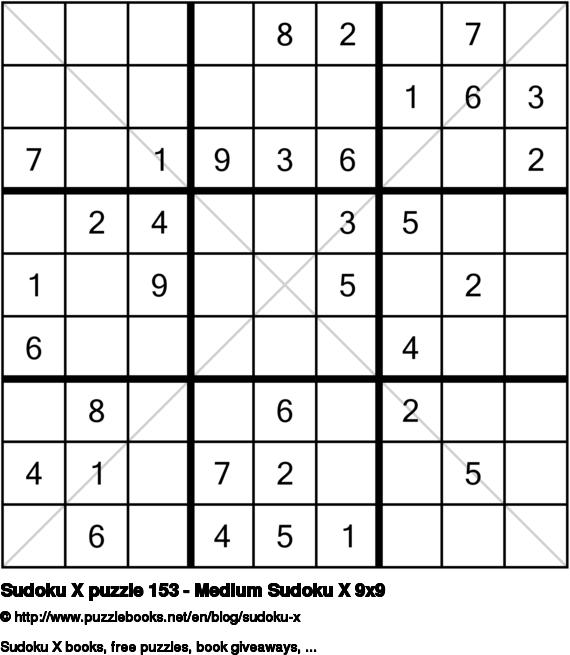 Sudoku X puzzle 153 - Medium Sudoku X 9x9