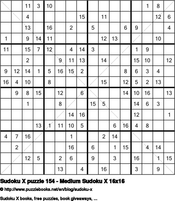 Sudoku X puzzle 154 - Medium Sudoku X 16x16