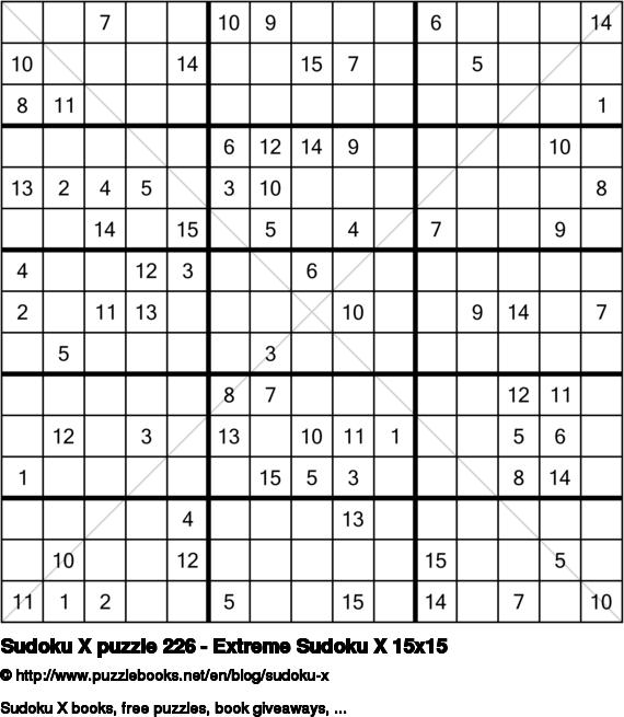 Sudoku X puzzle 226 - Extreme Sudoku X 15x15