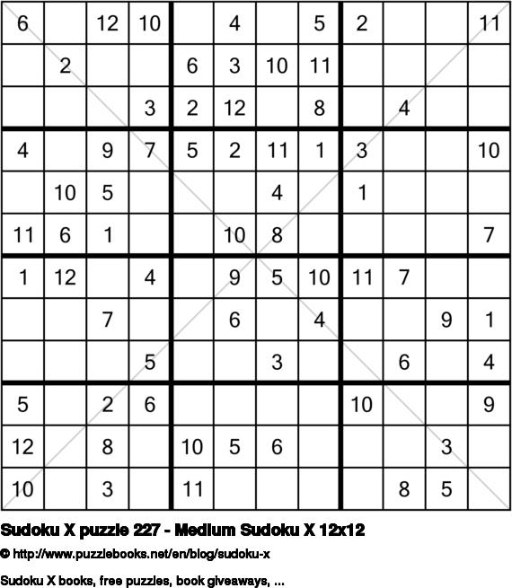 Sudoku X puzzle 227 - Medium Sudoku X 12x12