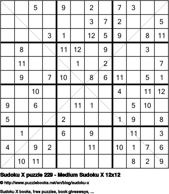 Sudoku X puzzle 229 - Medium Sudoku X 12x12