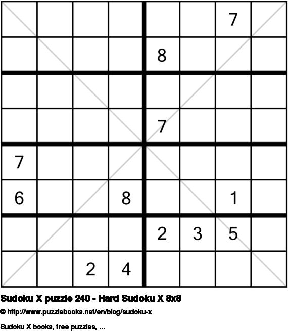 Sudoku X puzzle 240 - Hard Sudoku X 8x8