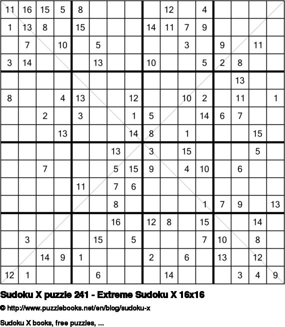 Sudoku X puzzle 241 - Extreme Sudoku X 16x16