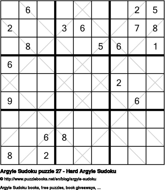 Argyle Sudoku puzzle 27 - Hard Argyle Sudoku