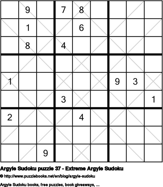 Argyle Sudoku puzzle 37 - Extreme Argyle Sudoku