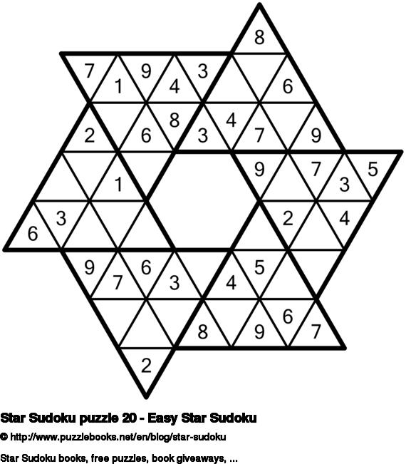 Star Sudoku puzzle 20 - Easy Star Sudoku