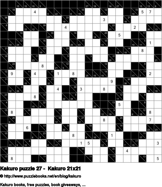 Kakuro puzzle 27 -  Kakuro 21x21