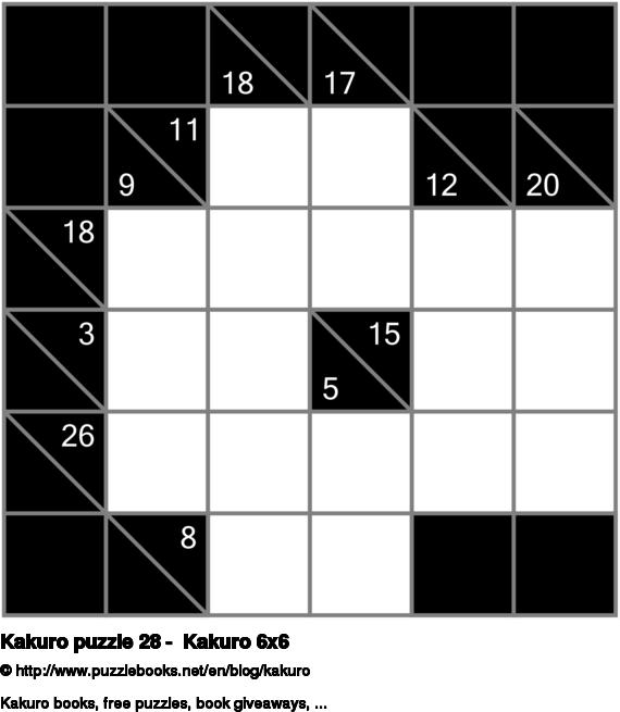Kakuro puzzle 28 -  Kakuro 6x6