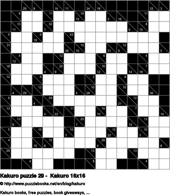 Kakuro puzzle 29 -  Kakuro 16x16