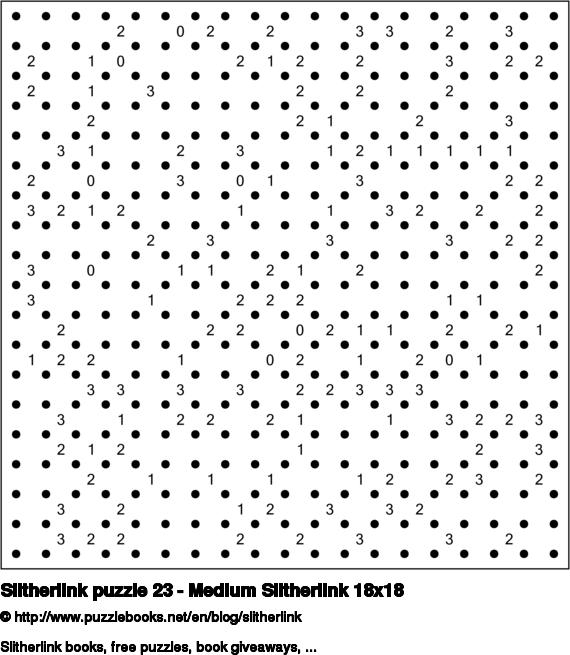 Slitherlink puzzle 23 - Medium Slitherlink 18x18