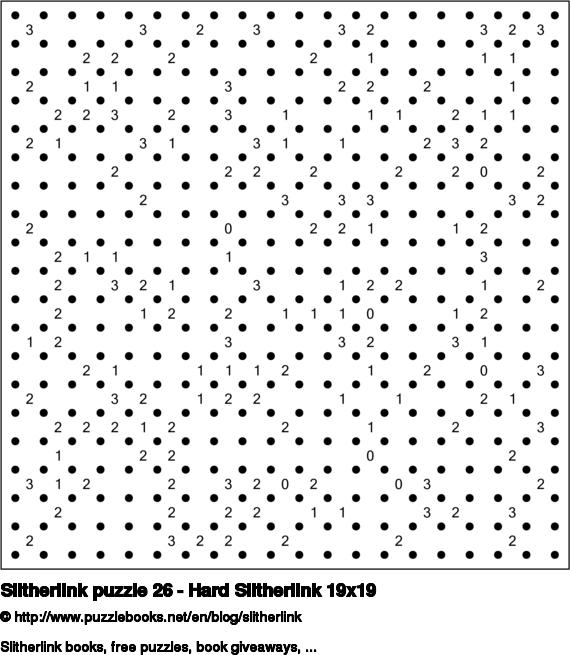Slitherlink puzzle 26 - Hard Slitherlink 19x19