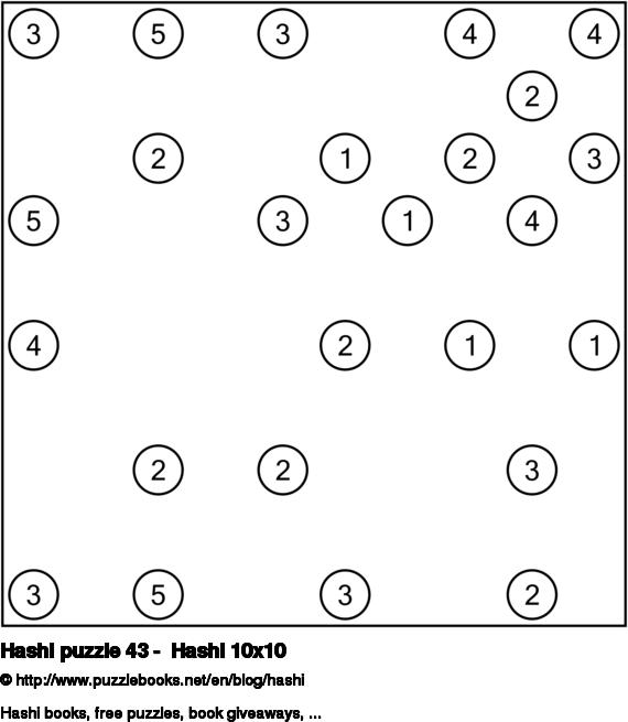 Hashi puzzle 43 -  Hashi 10x10